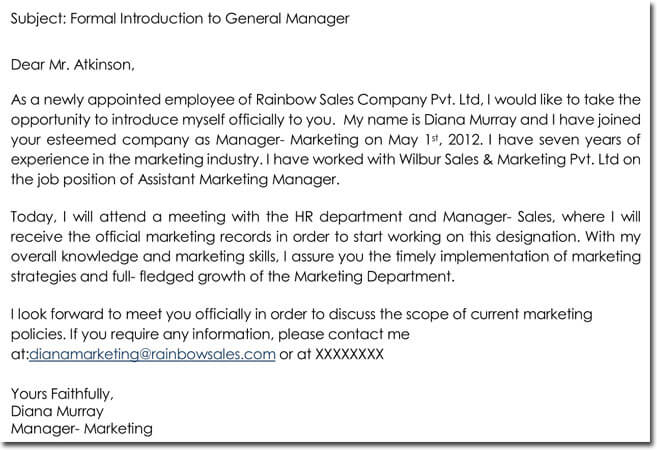 Formal Employee Introduction Letter