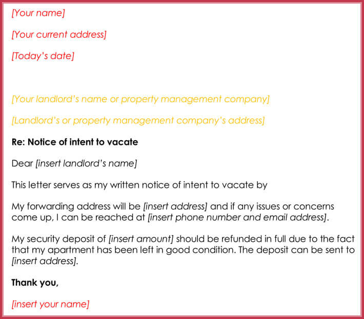 Notice of intent to vacate format