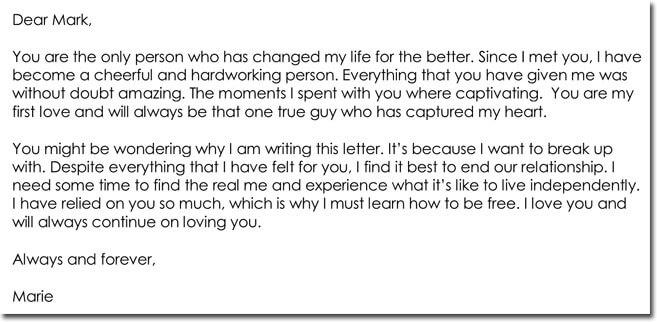 Sad Break Up Letter Samples