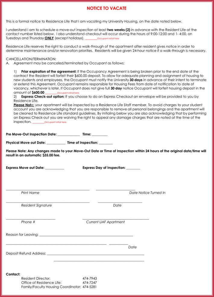 30-Day Advance Notice of Intention to Vacate to Landlord