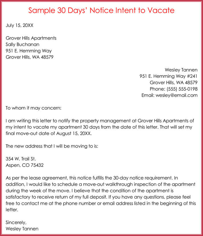 Sample 30 Days Notice Intent to Vacate