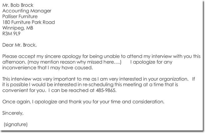Sample Apology Letter for Missed Interview