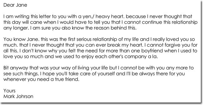 Sample Break Up Letters To Girlfriend
