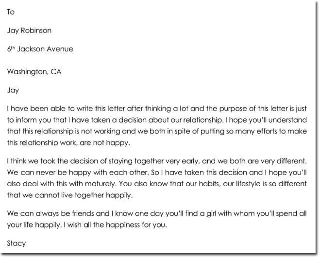 Sample Breakup Letter to Boyfriend