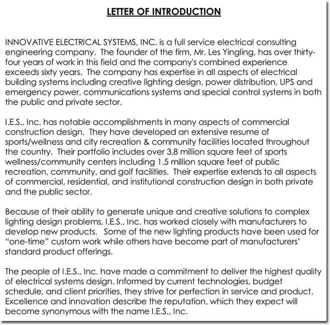 Sample Company Introduction Letter