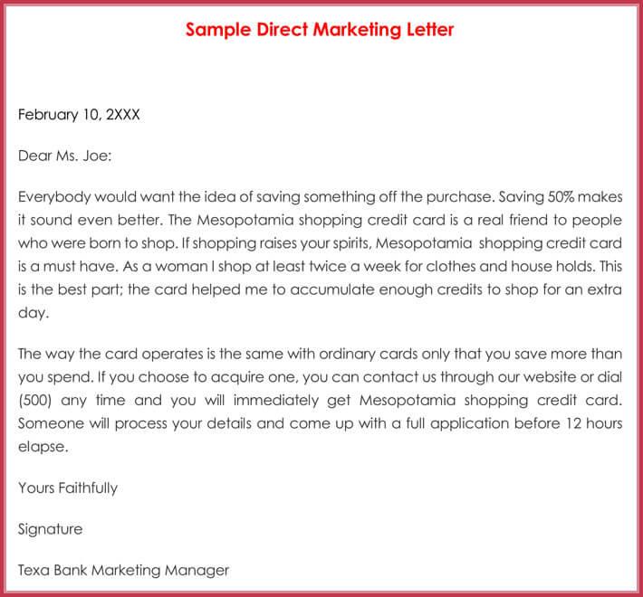 Sample Direct Marketing Letter