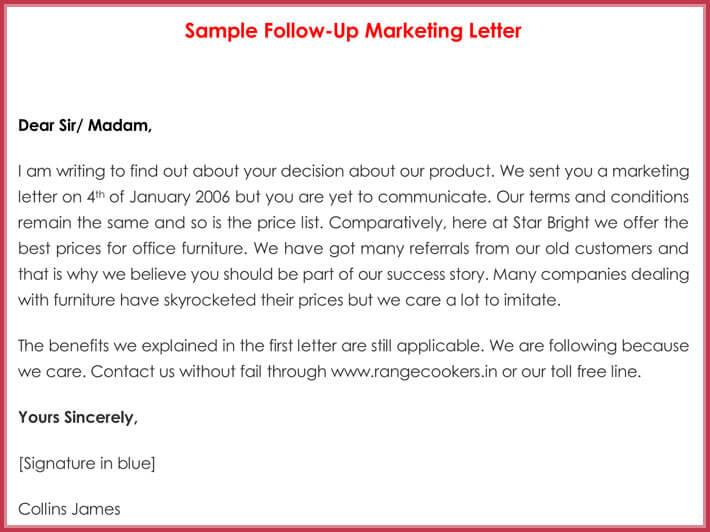 Sample Follow-up Marketing Letter