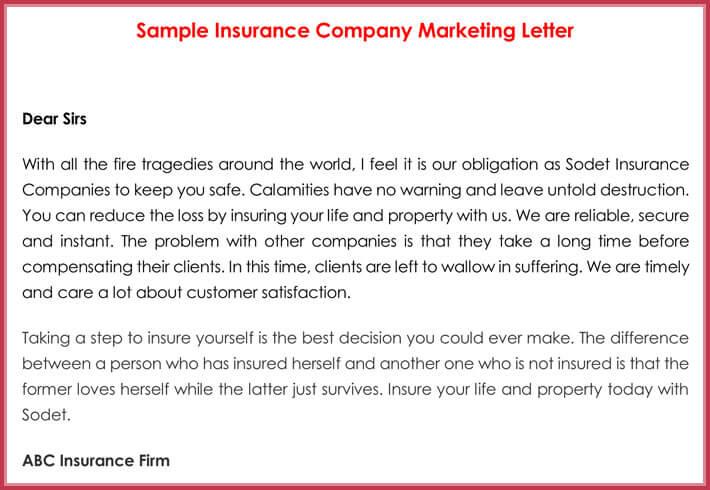 Sample Insurance Company Marketing Letter