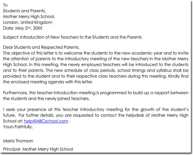 Sample Letter of Introduction of New Teachers to the Students and the Parents