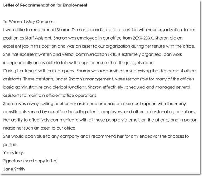 Sample Letter of Recommendation for Employment