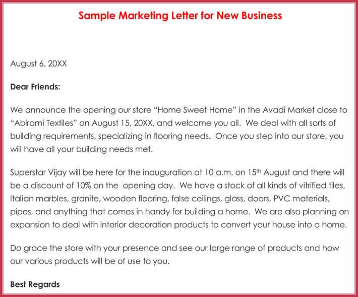 Sample Marketing Letter for New Business