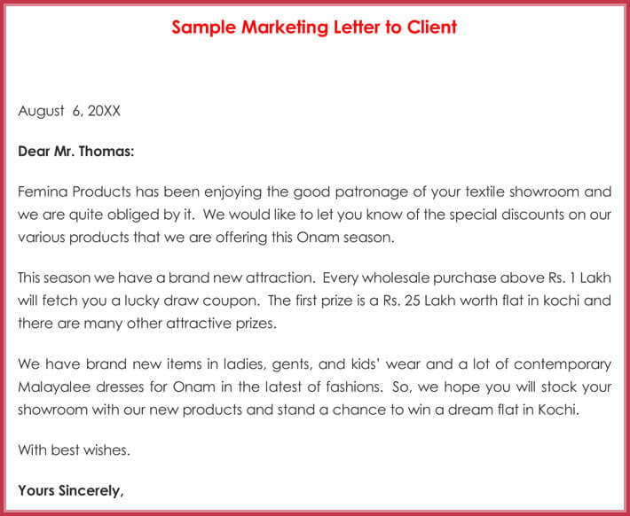 Sample Marketing Letters to Client