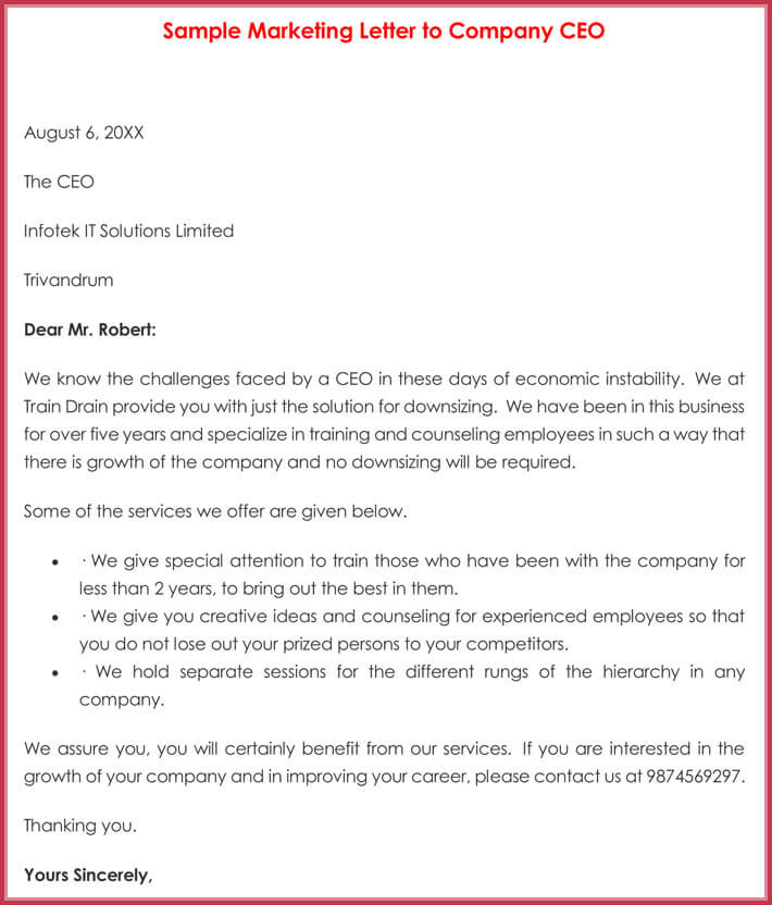 Sample Marketing Letter to Company CEO