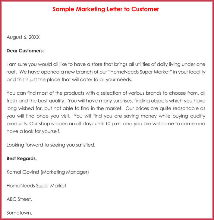 Sample Marketing Letter to Customer