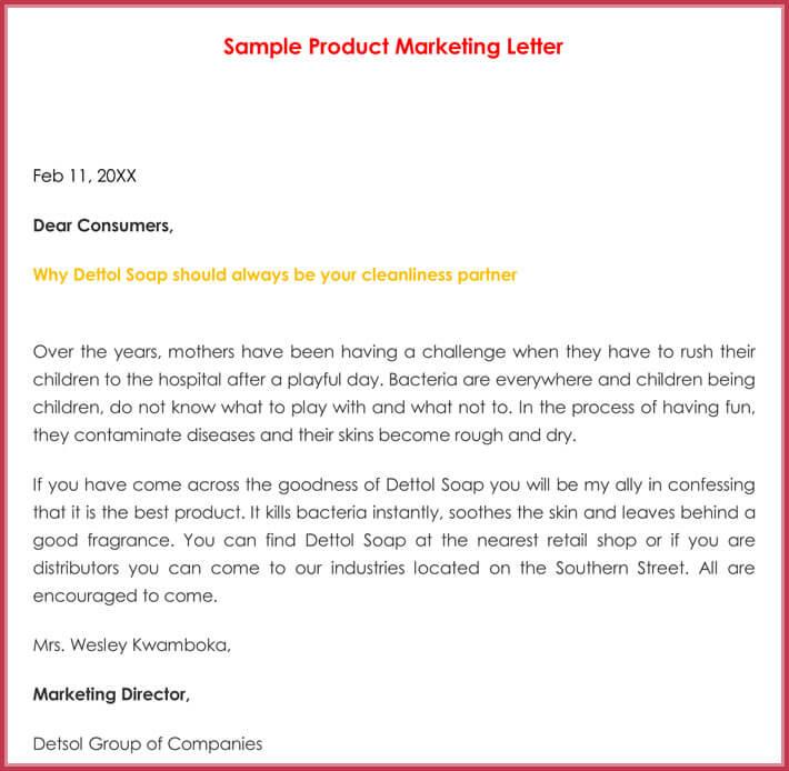 Sample Product Marketing Letter