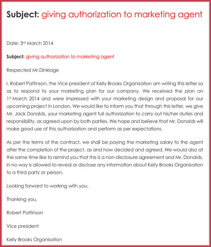 Sample letter to give authorization to marketing agent