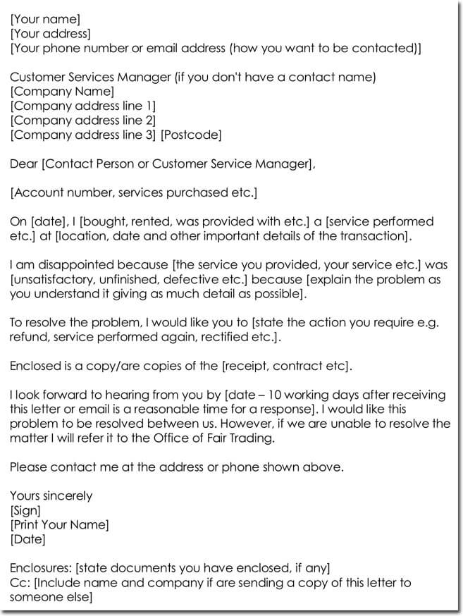 Service Complaint Letter Format (for any purchased service).