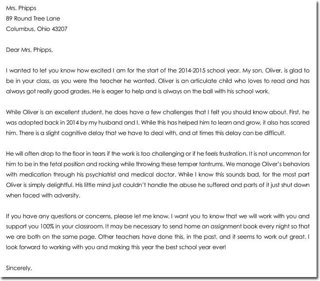 Student Introduction Letters to Teachers from Parents