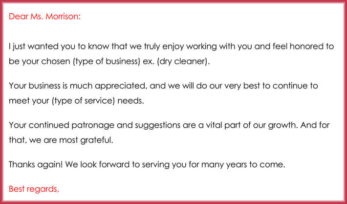 formal customer thank you email template