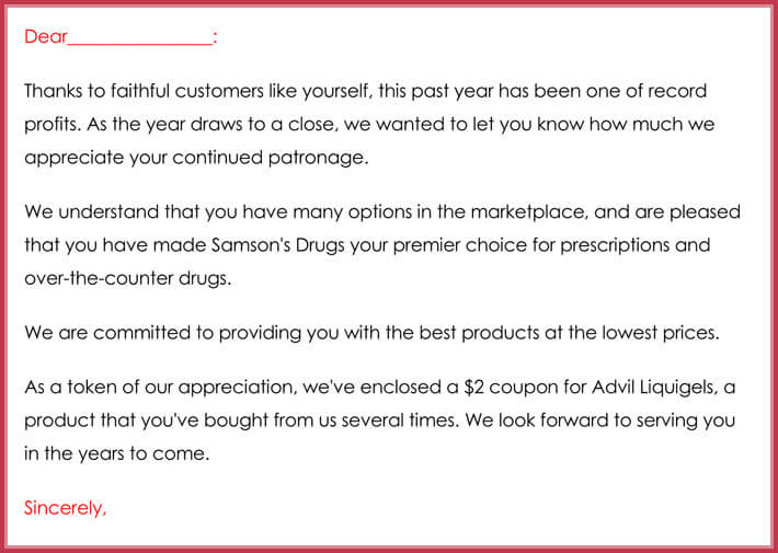 example customer thank you letter