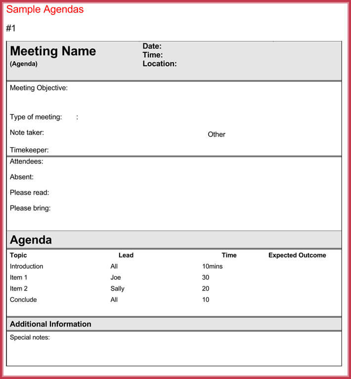 sample of effective meeting agenda template
