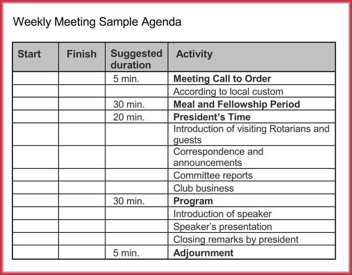 Weekly Meeting agenda template format
