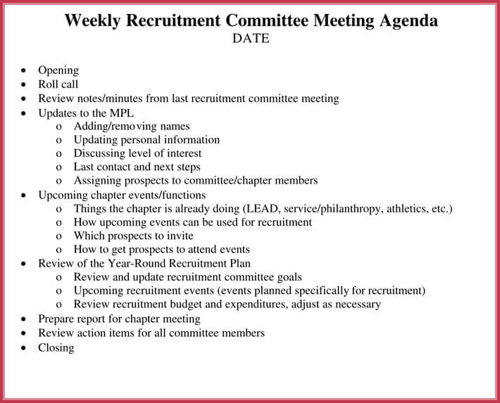 sample of weekly meeting agenda template