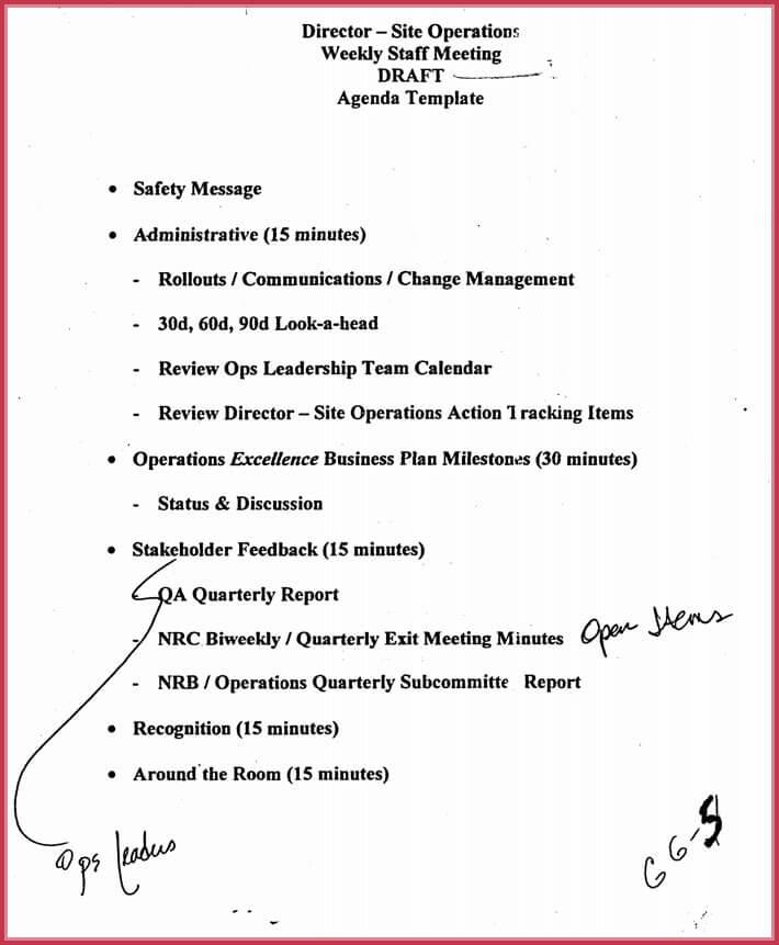 download free weekly meeting agenda template
