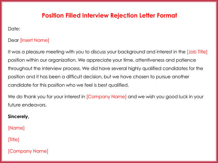 rejection letters 20 free samples formats for hr