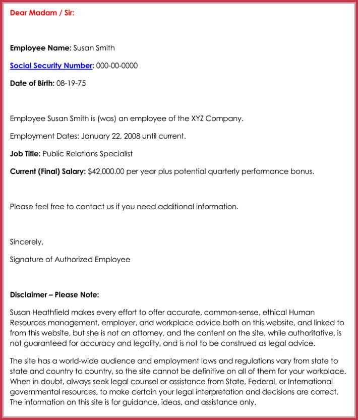free employment verification letter