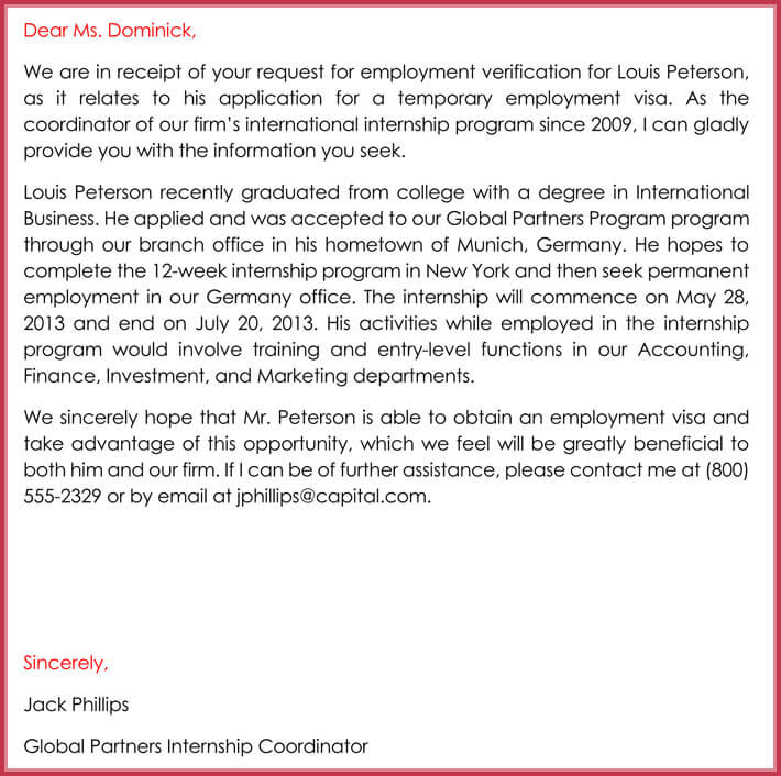 employment verification letter format