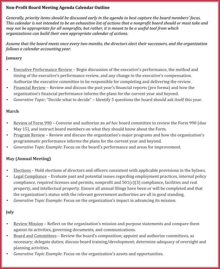 sample of board meeting agenda template