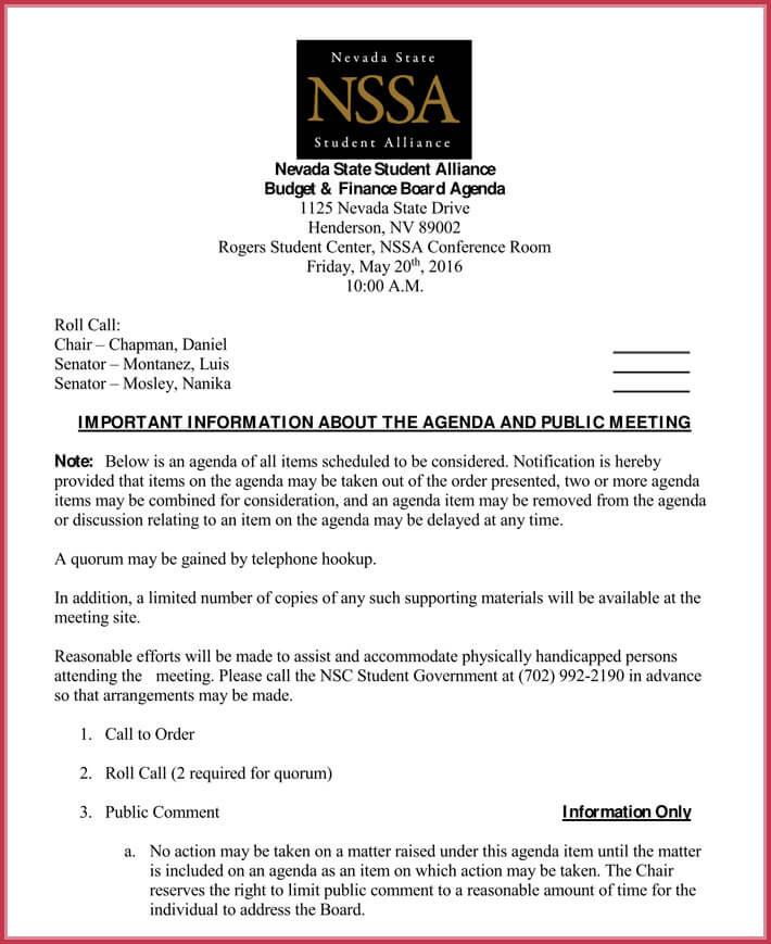 download board meeting agenda template free