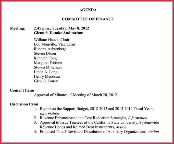 editable board meeting agenda template