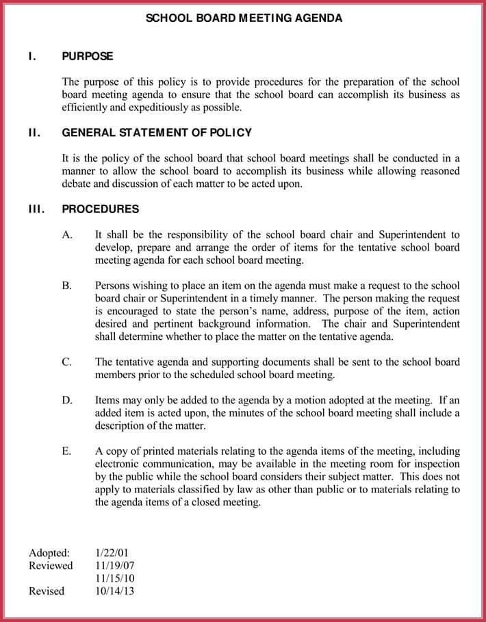print free board meeting agenda template