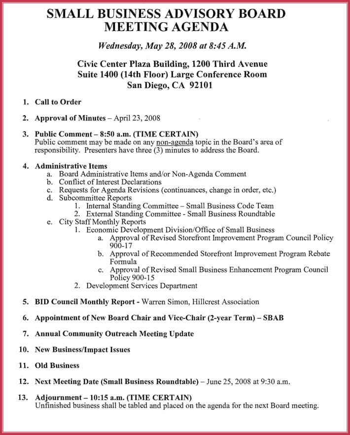 free editable board meeting agenda template