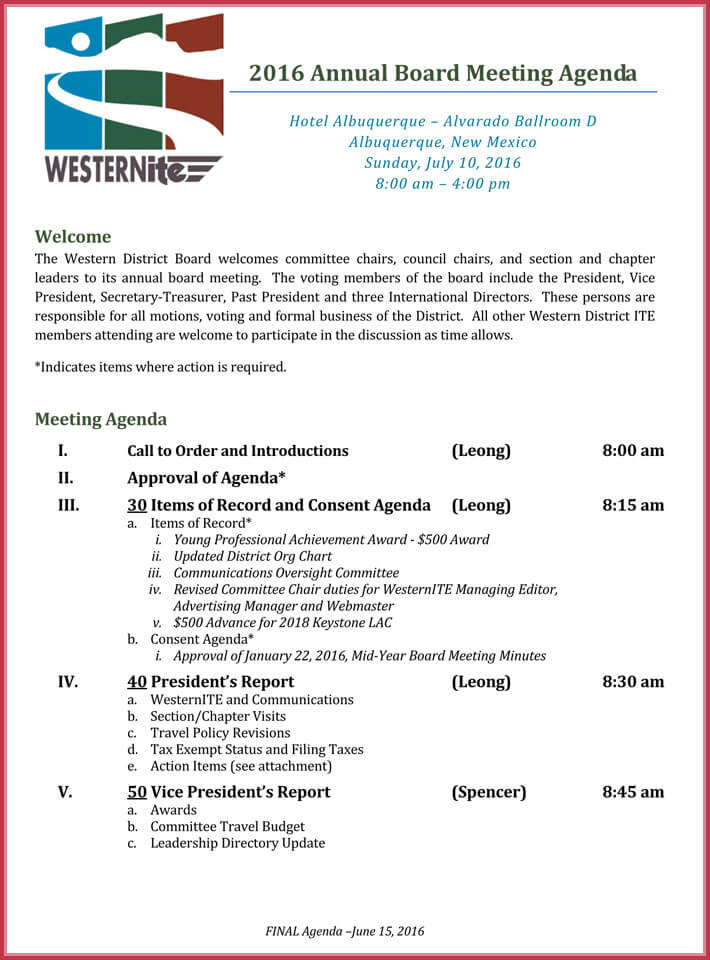 free print board meeting agenda template