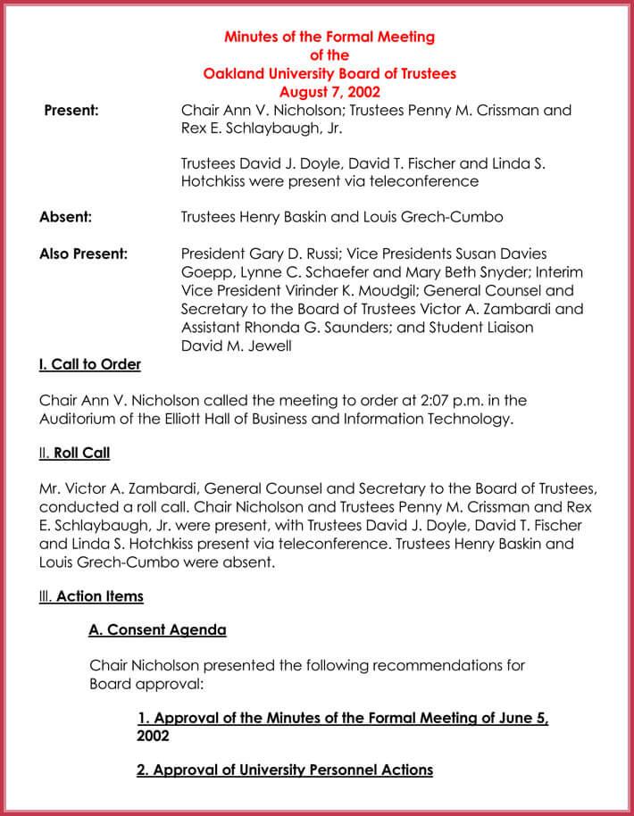 formal meeting agenda template editable
