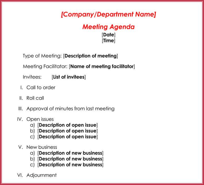 free print formal meeting agenda template