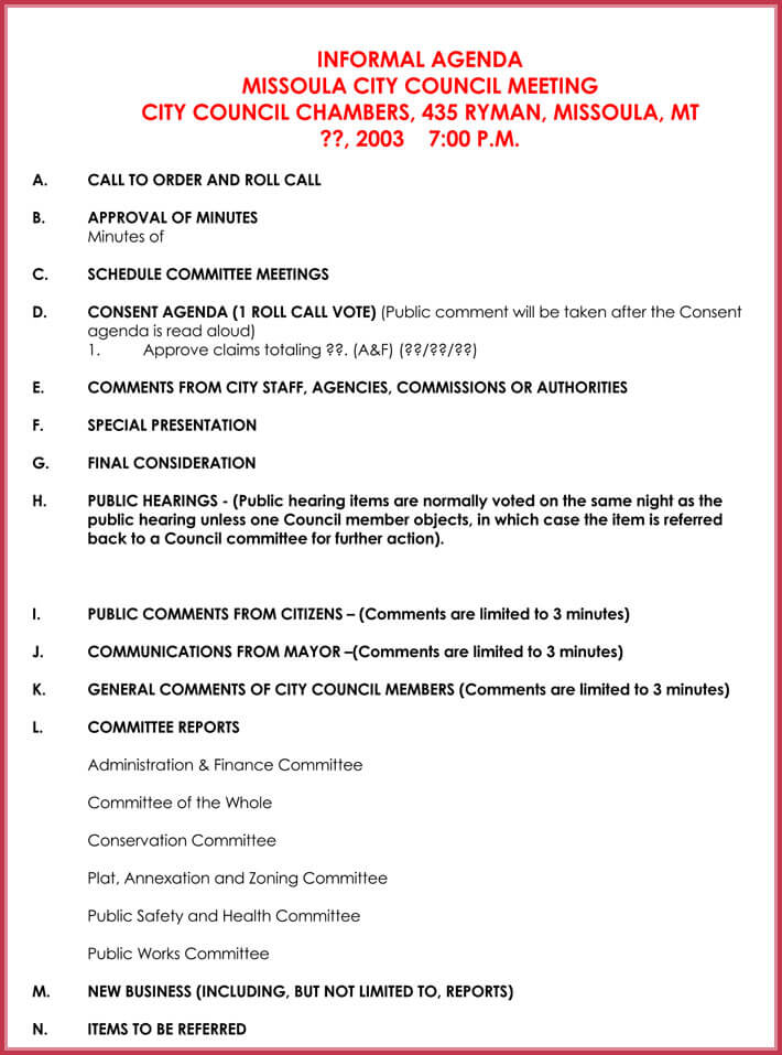 print free informal meeting agenda template
