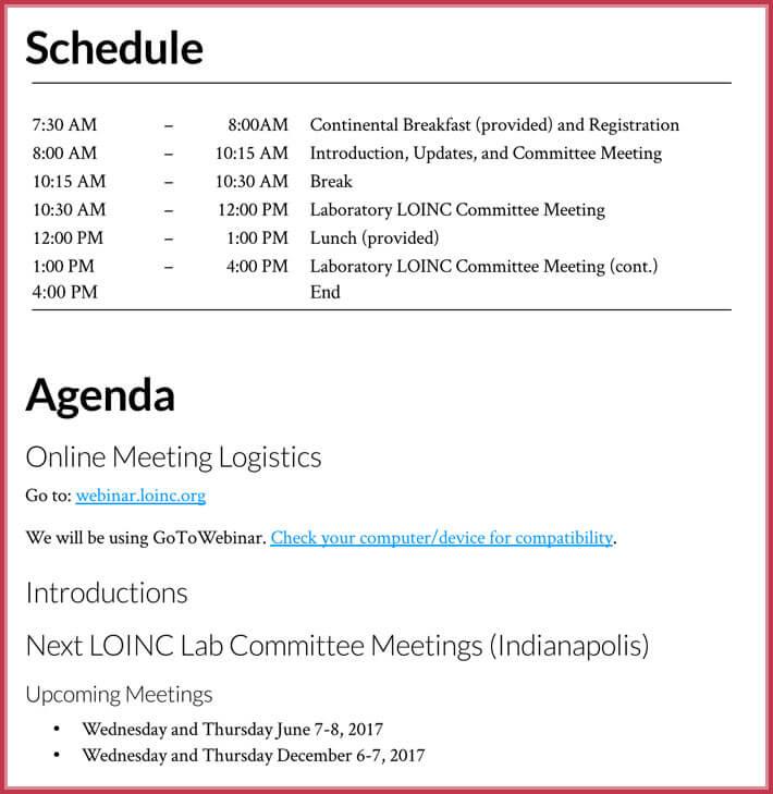 free download simple agenda template