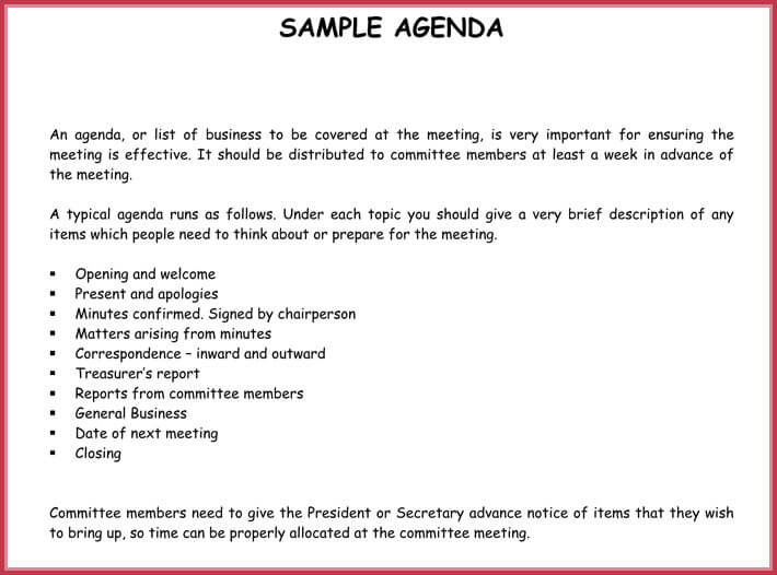 free print simple agenda template