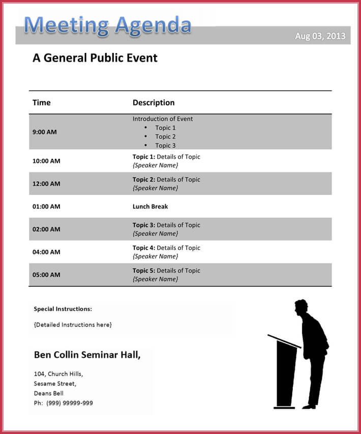 free print conference agenda template