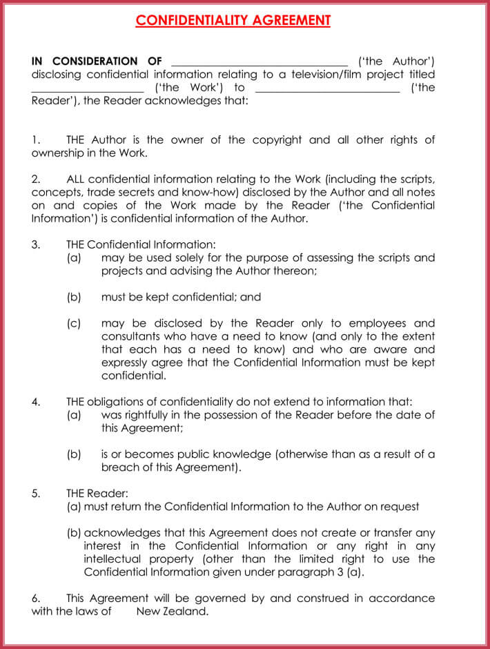 basic confidentiality agreement example
