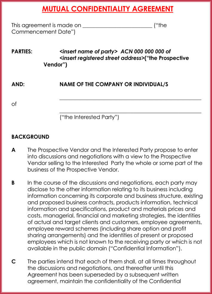 free edit business confidentiality agreement