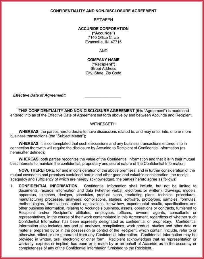 editable business confidentiality agreement
