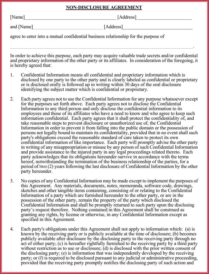 printable business confidentiality agreement