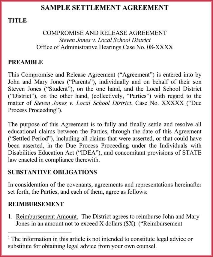 confidentiality settlement agreement printable
