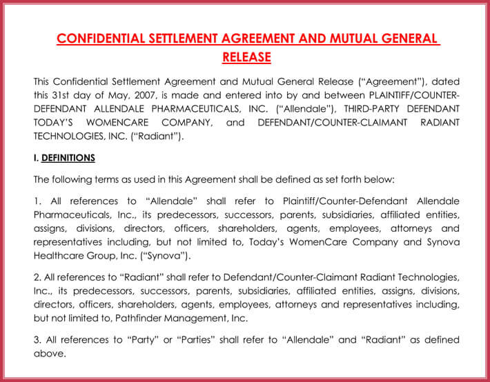 free printable confidentiality settlement agreement