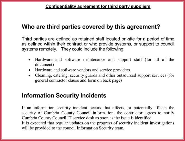 free contractor confidentiality agreement